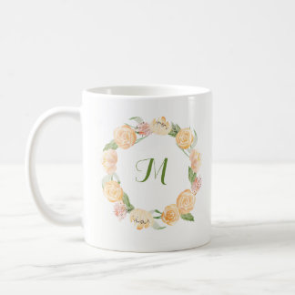 Gold Beige and Green Floral Wreath | Monogram Coffee Mug