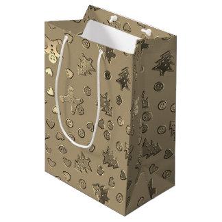 Gold Beige Ginger Bread Pattern Christmas Gift Bag