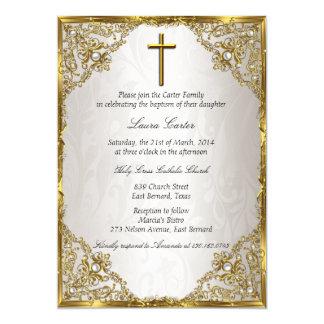 Gold Beige Pearl Damask Cross Baptism/Christening 13 Cm X 18 Cm Invitation Card
