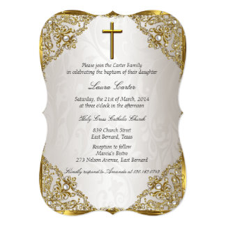 Gold Beige Pearl Damask Cross Baptism/Christening 13 Cm X 18 Cm Invitation Card