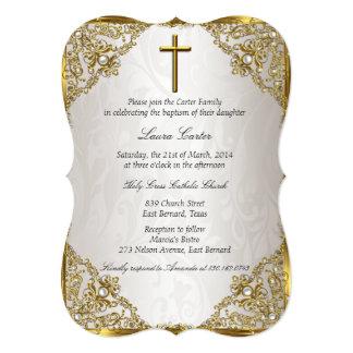 Gold Beige Pearl Damask Cross Baptism/Christening Card