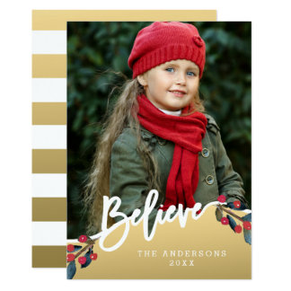 Gold Believe Hand Lettered Christams Holiday Photo Card