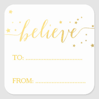 Gold Believe Hand Lettered | Holiday Gift Tag Square Sticker