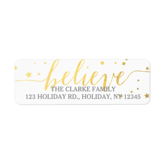 Gold Believe Handwriting Holiday Address Label