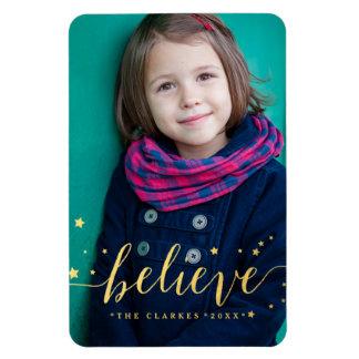 Gold Believe Handwriting | Holiday Full Photo Rectangular Photo Magnet
