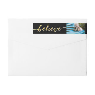 Gold Believe Holiday Photo Return Address Wrap Around Label