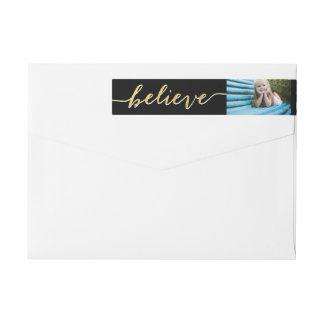Gold Believe Holiday Photo Return Address Wraparound Return Address Label