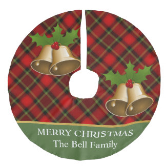 Gold Bell On Christmas Plaid Tree Skirt