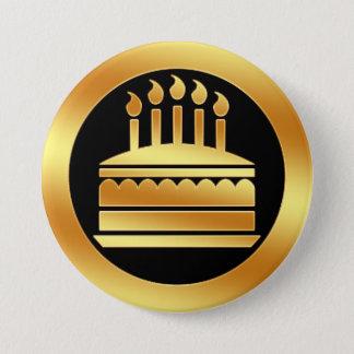 Gold Birthday Cake 7.5 Cm Round Badge
