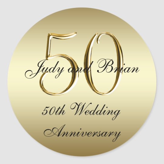 Gold Black 50th Wedding Anniversary Stickers Zazzle Com Au