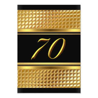 Gold & Black 70th Birthday Party Invitation