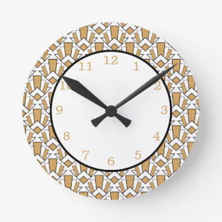 Gold, Black and White Art Deco Fan Flowers Pattern Round Clock
