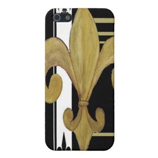 Gold, Black and white fleur de lis mobile case iPhone 5/5S Case