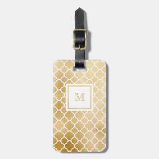 Gold, Black and White quatrefoil Luggage Tag