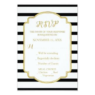 Gold Black and White Stripes Wedding RSVP 9 Cm X 13 Cm Invitation Card