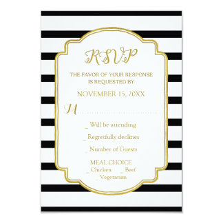 Gold Black and White Stripes Wedding RSVP Card