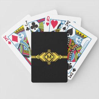 Gold & Black Art Deco Belt Monogram Bicycle Playing Cards