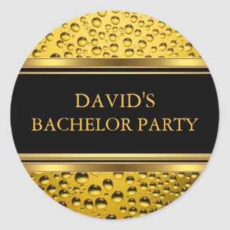 Gold & Black Beer Bachelor Party Sticker
