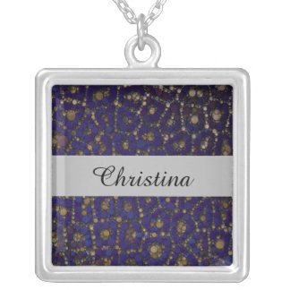 Gold Black Blue Cheetah Abstract Silver Plated Necklace