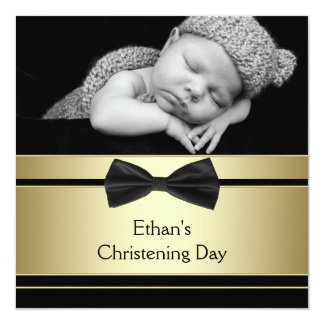 Gold Black Bow Tie Baby Boy Photo Christening 13 Cm X 13 Cm Square Invitation Card