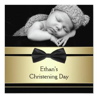 Gold Black Bow Tie Baby Boy Photo Christening Card