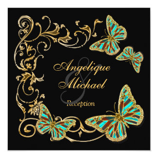 Gold black butterfly RECEPTION wedding engagement 13 Cm X 13 Cm Square Invitation Card