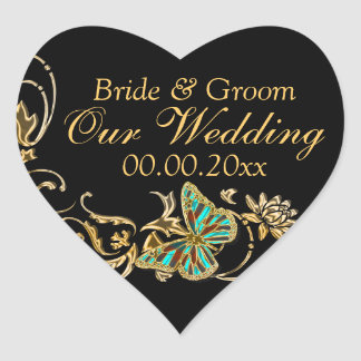 Gold black butterfly wedding engagement heart sticker