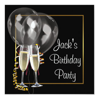 Gold Black Champagne Mans Birthday Party Card