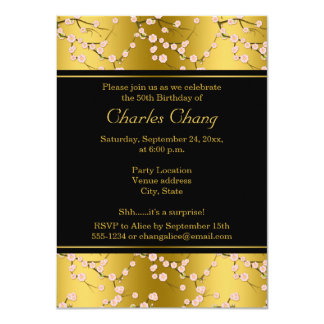 Gold, Black Cherry Blossoms 50th Birthday Invite