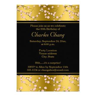 Gold, Black Cherry Blossoms 50th Birthday Invite