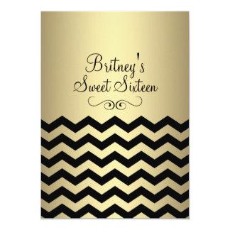 Gold & Black Chevron Sweet 16 Birthday Invite