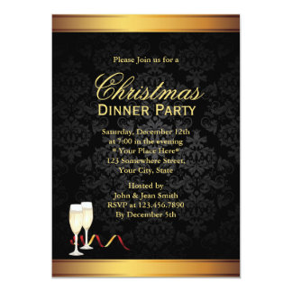 Gold & Black Christmas Dinner Party Invitations