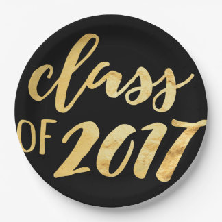 Gold + Black Class of 2017 Graduation Party Plates