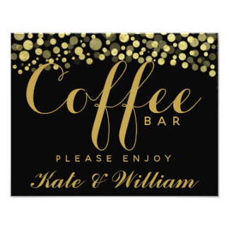 Gold & Black coffee bar personalised wedding sign