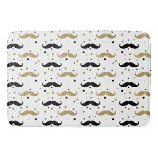 Gold Black Confetti Mustaches Bath Mat