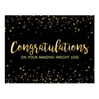 Gold Black Congratulations Weight Loss Award Postcard