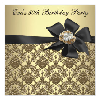 Gold Black Damask 50th Birthday Party Card