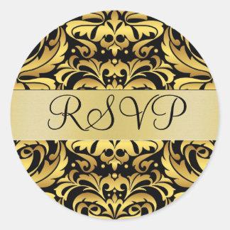 Gold & Black Damask Elegant RSVP Sticker