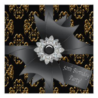 Gold Black Damask Gift Classy 50th Birthday Invitation