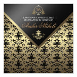 Gold & Black Damask Sweet 16 Invite