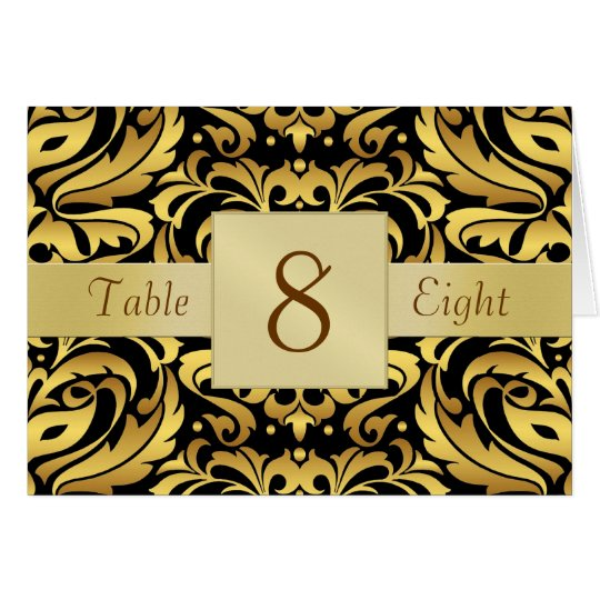 Gold & Black Damask Table Number Folded Card
