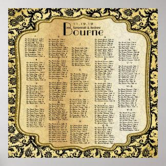 Gold & Black Damask Wedding Seating Chart Print