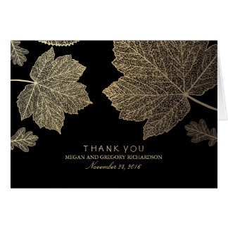 Gold Black Fall Leaves Wedding Thank You Note Card