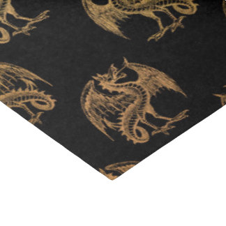 Gold black Fantasy Dragon party tissue paper