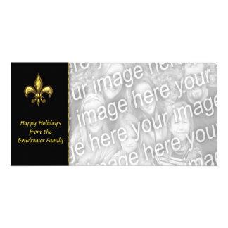 Gold Black Fleur de Lis Photo Christmas Customized Photo Card