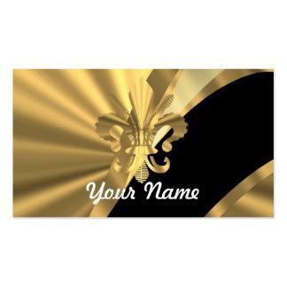 Gold & black fleur de lys business card templates