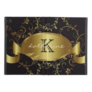 Gold Black Floral Monogram Name Personalized iPad Mini 4 Case