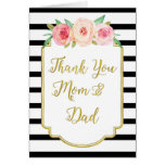 Gold Black Floral Parents Wedding Day Thank You Greeting Card