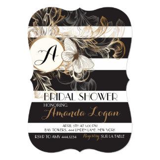 Gold Black Floral Striped Bridal Shower Invitation