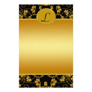 Gold & Black Floral Wedding Monogram Stationery